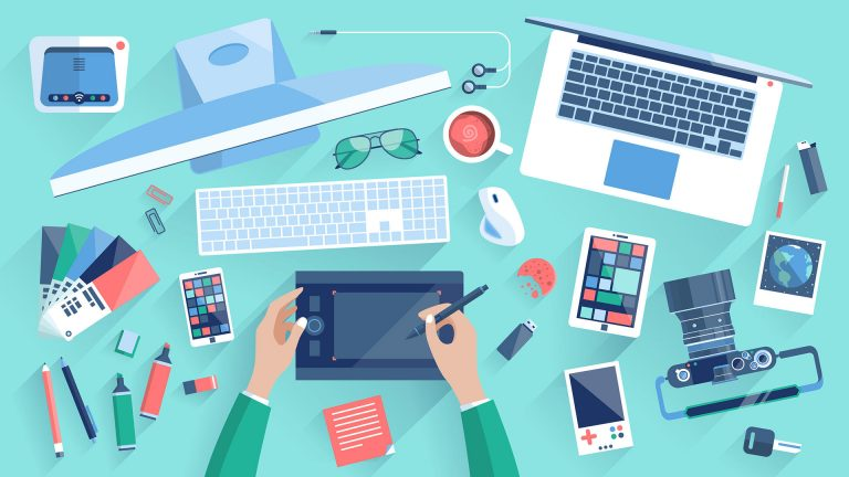 Flat design vector illustration of modern creative office workspace workplace of a designer. The office of a creative worker. Flat minimalistic style and color with long shadows for Web & Mobile App